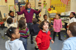 Liz works as a teaching artist with kindergarteners at the Condon School in South Boston.