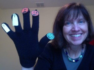Liz with pumpkin & ghost finger play glove
