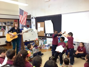 Students at the Gardner Pilot Academy act out my musical version of The Three Little Pigs (which was written at the Gardner several years ago).