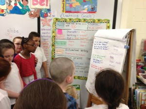 Condon School first graders work on our songwriting project.